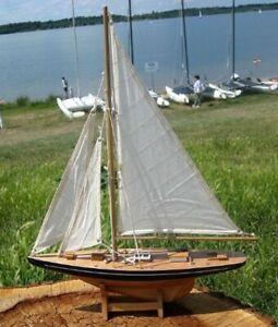Große Yacht, Segelschiff, Schiffsmodel Segelyacht Holz Höhe 80 cm