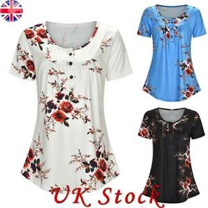 Womens V Neck Floral Summer Blouse Tops Ladies Short Sleeve T-Shirt Size 10-18