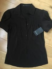 BNWT Zara Brown Pleated Blouse Shirt Size Small