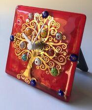 Murano Millefiori Clock Red Gold Tree Hand Blown Hand Painted Signed