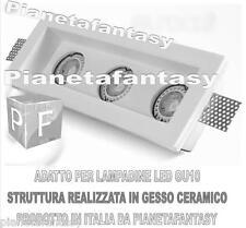 Porta Faretto a Scomparsa in Gesso Ceramico tre luci + portalampada attacco GU10