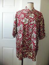 Neiman Marcus Mens Red Tan Island Floral Print 100% Rayon Short Sleeve Shirt  XL