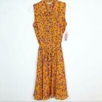 WOMEN'S NANETTE NANETTE LEPORE YELLOW FLORAL SLEEVELESS DRESS SZ 8 NWT