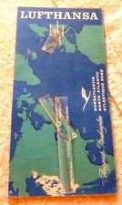 VINTAGE  MAP LUFTHANSA FLIGHT ROUTE NEW YORK TO SAN FRANCISCO c.1960