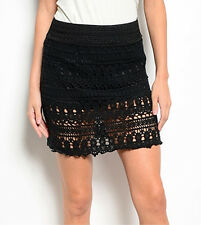 BLACK CROCHET COTTON LACE SHORT SKIRT SZ M MINI BOHO GOTHIC VICTORIAN LOLITA