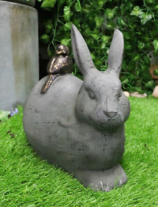 Aluminum Whimsical Crouching Bunny Rabbit With Perching Bird Buddy Garden Statue