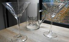 MARTINI PITCHER WITH TWO MARTINI GLASSES HAND PAINTED