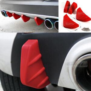 Bumper Diffuser Molding Aero Parts Lip Fin Body Spoiler Chin Red for NISSAN Car