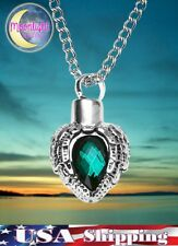 New Green Crystal Angel Wings Heart Urn Cremation Pendant Ash Memorial Necklace