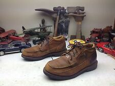 Distressed Usa Chippewa Rustic Brown Leather Ranch Work Shop Packer Shoes 8.5D