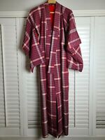 Vintage Kimono Traditonal Japanese Jacket Robe Geisha Red Plaid Lined