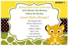1 x LION KING UNISEX BABY SHOWER PERSONALISED PARTY INVITATIONS + FREE MAGNETS