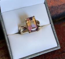 Beautiful Natural Genuine Ametrine 10k Solid Yellow Gold Ring