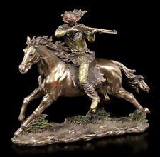 Indianer Figur - Schießender Apache mit Gewehr auf Pferd - Veronese Deko Statue