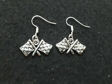 """Handmade chequered flags earrings.  Racing.  Grand prix.  F1. (""""antique silver"""")"""