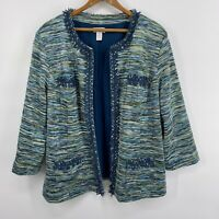 Chicos Blue Green Teal Open Front Jacket Size 2 Large 12