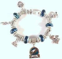 Official NFL PHILADELPHIA EAGLES Football Charm on Silver European Bracelet