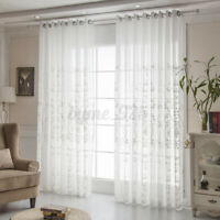 2PCs White Floral Embroider Sheer Net Curtains For Cafe Kitchen Window Decors *