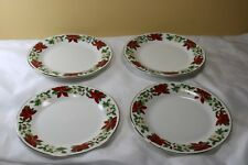 4 Gibson Designs Poinsettia Holiday Salad Plates Christmas Red Flower
