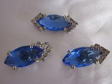 Vintage Blue Sapphire Crystal Rhinestones Demi Set