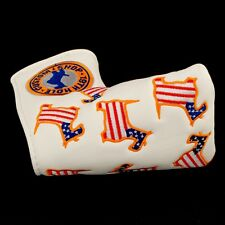 US Flag Dancing Scottie Dog Head Cover Blade Putter, 3-layers Heavy Duty, White