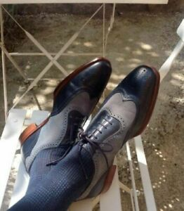 Handmade Men's Two Tone Formal Shoes, Men Navy Blue and Gray Dress Leather Shoes