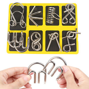 8pcs Metal Puzzle Wire IQ Mind Brain Kids Adults Stress Reliever Toy Xmas Gifts