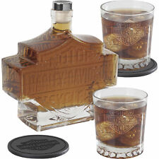 5-Pc. Harley-Davidson Bar & Shield Whiskey Decanter Set Rocks Glasses & Coasters