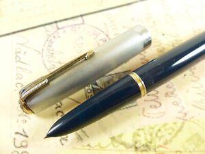 Teal Blue Parker 51 Vacumatic Sterling Silver Cap Fountain Pen - restored