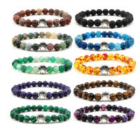 Fashion Cute Dog Paw Chakra Healing 8MM Natural Stone Stretch Bracelets Gift