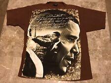 Barack Obama MLK HUGE Mural Print Black History Rap Graphic T-Shirt Adult Sz XL