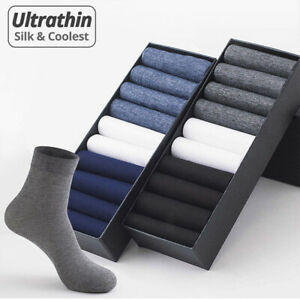 10Pair Business Men Silk Socks Tear-resistant Breathable Casual Socks Ultra-thin