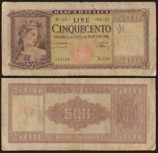 "500 LIRE 10/2/1948 ITALIA ORNATA DI SPIGHE ""RARA"""