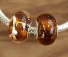2 x Beads *** AUS ECHTEM SILBER und Glasperle, braun