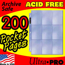 NEW 200 ULTRA PRO 9 POCKET PAGES FOR BINDER BASEBALL CARDS COUPON SLEEVES 81442