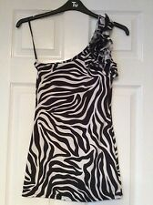 Jane Norman one shoulder black/white Zebra/animal Print ruffled dress size 10