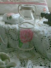 MILCHFLASCHE VASE GLAS BLUMENVASE ROSE SHABBY LANDHAUS COTTAGE VINTAGE HANDARB.