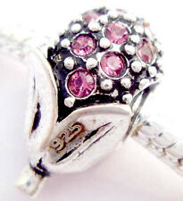 Mini Pink corn Silver hallmarked Bead Stopper thread fit Charm Bracelet JS134