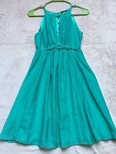 Varga Silk Cotton Shift Dress. Size Small, Green, Sleeveless, Flared, Peep Front