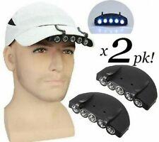 2 Pack 5 LED White Light Cap/Hat Clip-on Flashlight Bright New Lightweight