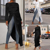 Women Loose Long Sleeve Solid Asymmetric Tops Ladies Sexy Blouse Shirt Tee Dress