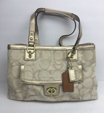 Coach Penelope Signature Linen Stitches Carryall Handbag Shoulder Bag 19231