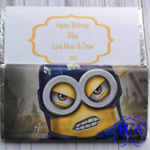 Large Chocolate Bar & Personalised Wrapper Birthday Christmas Gift Minions
