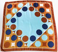 Silk Scarf Vintage 1970s Blue / Brown Graphic Circles  Print Medium