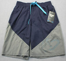 TAPOUT Logo Mens Navy Blue & Gray Power Button Stretch Board Shorts NWT S