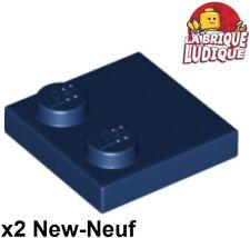 Lego - 2x Tile Modified plaque plate lisse 2x2 2 tenon bleu foncé 33909 NEUF