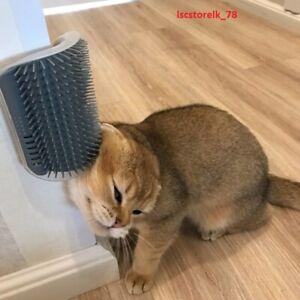 Cat Wall Corner Brush Massage Comb Self Groomer Face Scratcher Grooming Soft