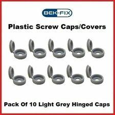10 BEK-FIX Light Grey Plastic Hinged Screw Caps Fold Over Screw Covers 6-8 Gauge