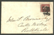 1841 1D RED LETTERED CA SELVEDGE AT LEFT 303 NUMERAL OF LIMERICK 1852 RATHKEALE
