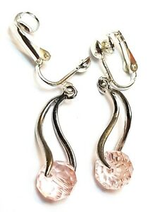 SILVER PINK CRYSTAL CLIP-ON EARRINGS drop dangle boho chic unique vintage gypsy